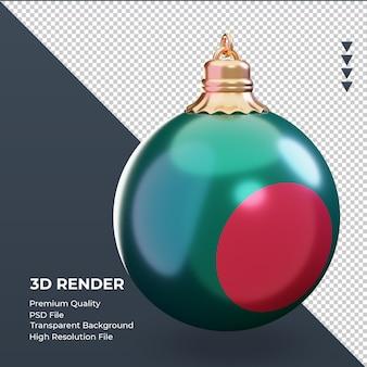 3d bola de natal bandeira de bangladesh renderizando a vista esquerda