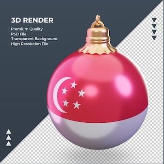 3d bola de natal bandeira de cingapura renderizando vista correta