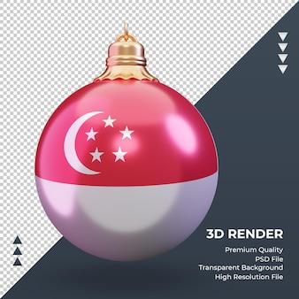 3d bola de natal bandeira de cingapura renderizando vista frontal