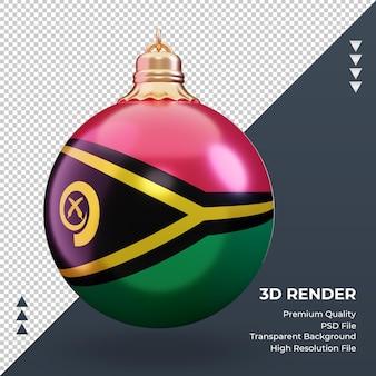 3d bola de natal, bandeira de vanuatu, renderização, vista frontal