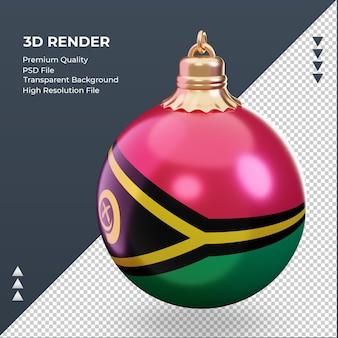 3d bola de natal bandeira de vanuatu renderizando vista direita