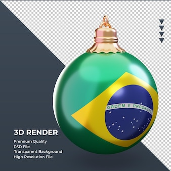 3d bola de natal bandeira do brasil renderizando vista esquerda