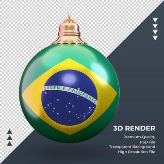 3d bola de natal bandeira do brasil renderizando vista frontal