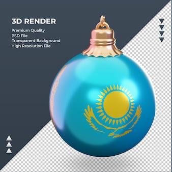 3d bola de natal, bandeira do cazaquistão, renderizando a vista certa