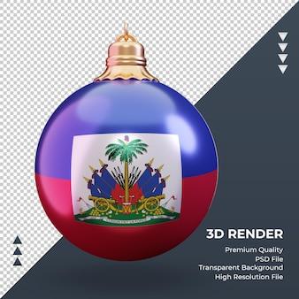 3d bola de natal, bandeira do haiti, renderização, vista frontal