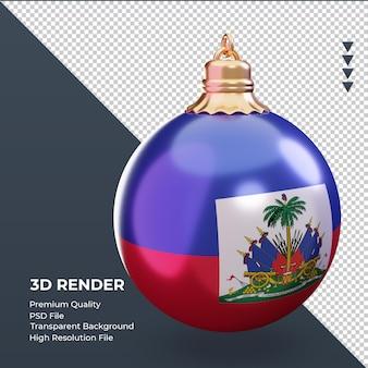 3d bola de natal bandeira do haiti renderizando a vista esquerda