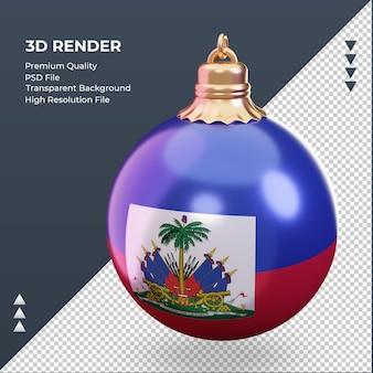 3d bola de natal bandeira do haiti renderizando vista correta