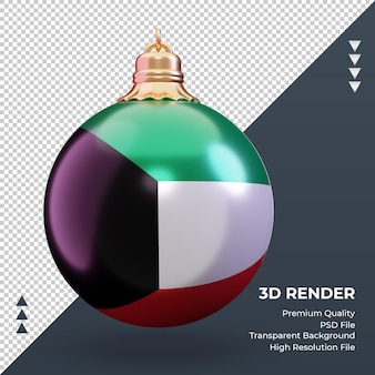 3d bola de natal, bandeira do kuwait, renderizando, vista frontal