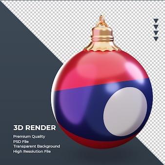 3d bola de natal bandeira do laos renderizando vista esquerda