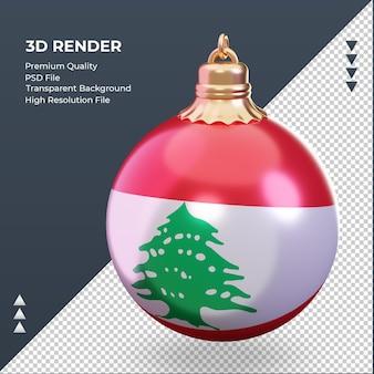 3d bola de natal bandeira do líbano renderizando vista direita