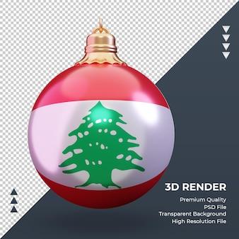 3d bola de natal bandeira do líbano renderizando vista frontal