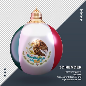 3d bola de natal, bandeira do méxico, renderização, vista frontal