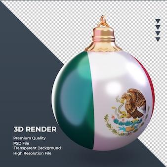 3d bola de natal bandeira do méxico renderizando a vista esquerda