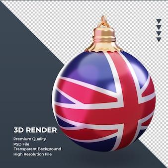 3d bola de natal bandeira do reino unido renderizando a vista esquerda