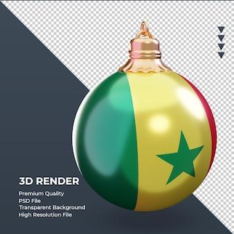 3d bola de natal, bandeira do senegal, renderização, esquerda, vista