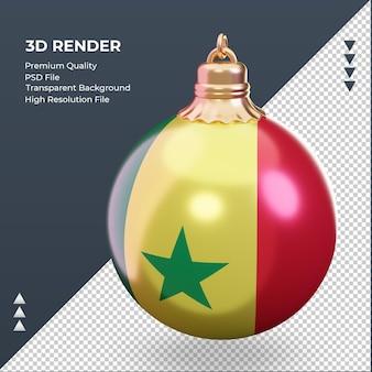 3d bola de natal bandeira do senegal renderizando vista direita