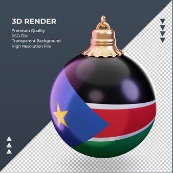 3d bola de natal, bandeira do sudão do sul renderizando vista direita