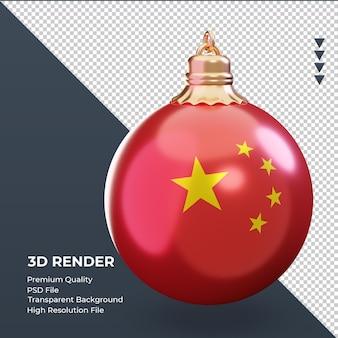 3d bola de natal com a bandeira da china renderizando a vista esquerda
