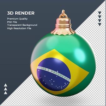 3d bola de natal com a bandeira do brasil renderizando a vista certa