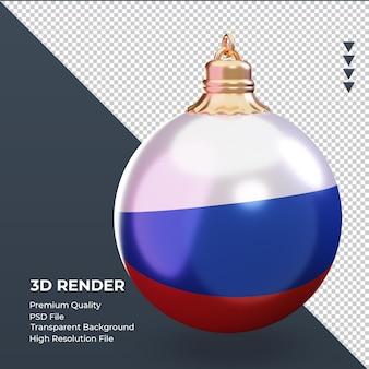 3d bola de natal com a bandeira russa renderizando a vista esquerda