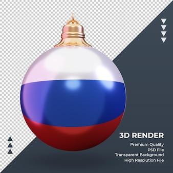 3d bola de natal com vista frontal de renderização da bandeira russa