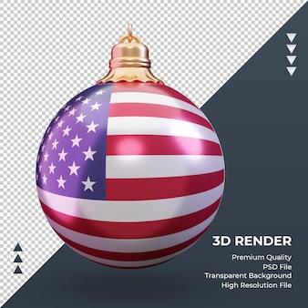 3d bola de natal da bandeira americana renderizando a vista frontal