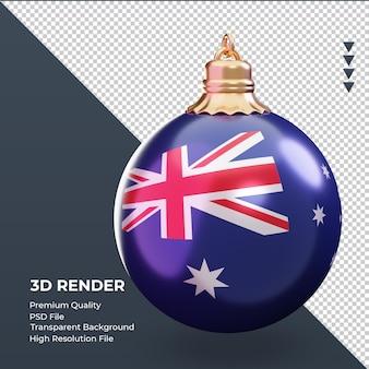 3d bola de natal da bandeira da austrália renderizando a vista esquerda