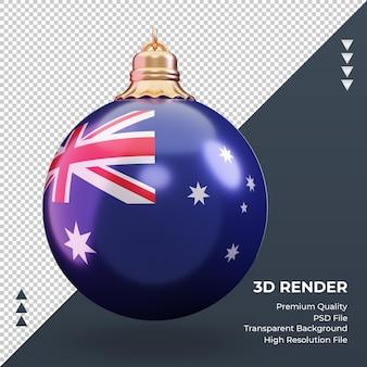 3d bola de natal da bandeira da austrália renderizando vista frontal