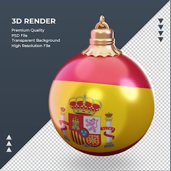 3d bola de natal da bandeira da espanha renderizando a vista certa