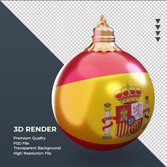 3d bola de natal da bandeira da espanha renderizando a vista esquerda