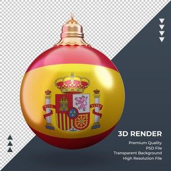 3d bola de natal da bandeira da espanha renderizando a vista frontal