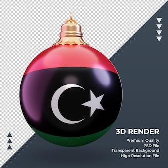 3d bola de natal da bandeira da líbia renderizando vista frontal