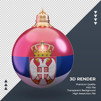 3d bola de natal da bandeira da sérvia renderização vista frontal