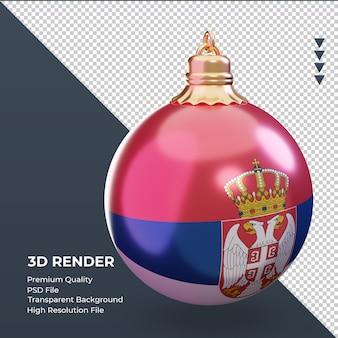 3d bola de natal da bandeira da sérvia renderizando a vista esquerda