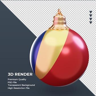 3d bola de natal da bandeira das seychelles renderizando a vista esquerda