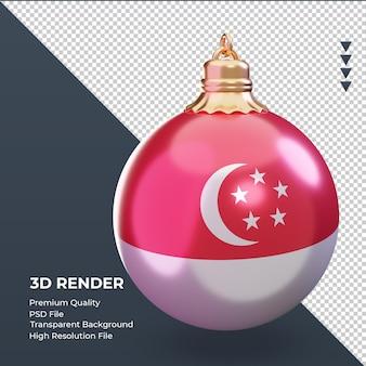 3d bola de natal da bandeira de cingapura renderizando a vista esquerda