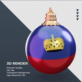 3d bola de natal da bandeira de liechtenstein renderizando a vista esquerda