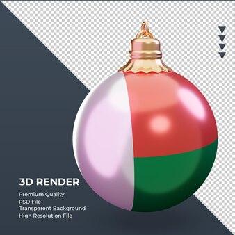 3d bola de natal da bandeira de madagascar renderizando a vista esquerda