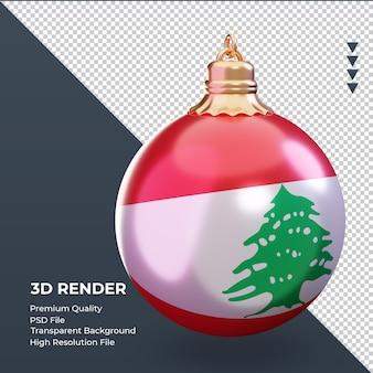 3d bola de natal da bandeira do líbano renderizando a vista esquerda