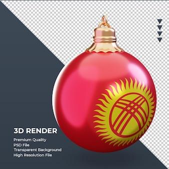 3d bola de natal da bandeira do quirguistão renderizando a vista esquerda
