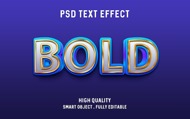 3d bold (realce) azul com efeito de texto de contorno de ouro