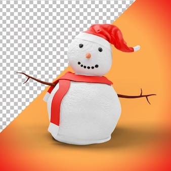 3d boneco de neve de natal com chapéu vermelho