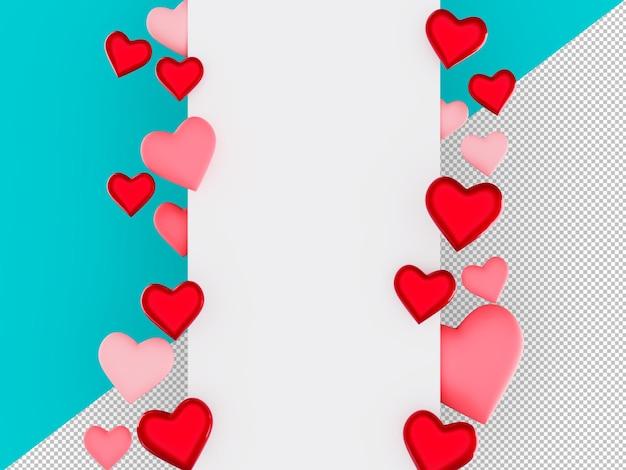3d bonito cartão de banner promocional do dia dos namorados com coração decorativo