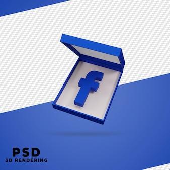 3d box facebook render isolado