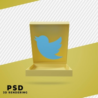 3d box twitter render isolado