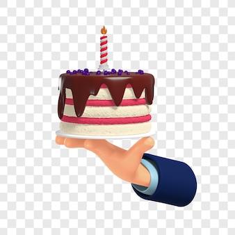3d branco e rosa com bolo de aniversário de cobertura de chocolate na mão, isolado com personalização de cores