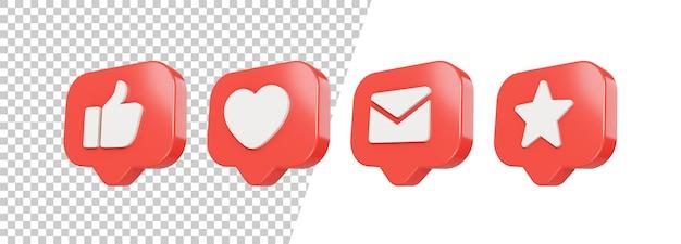 3d brilhante como, amor, correio, design de ícone de estrela