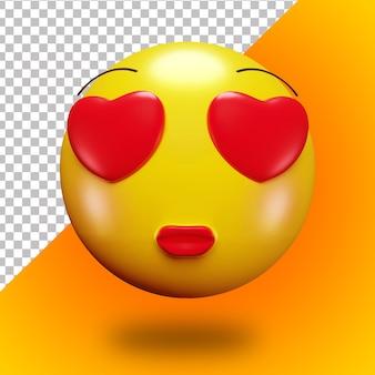3d cara de emoji apaixonando-se