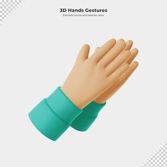 3d cartoon gesto com a mão renderização em 3d