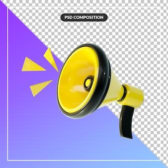 3d cartoon megafone com alto símbolo isolado